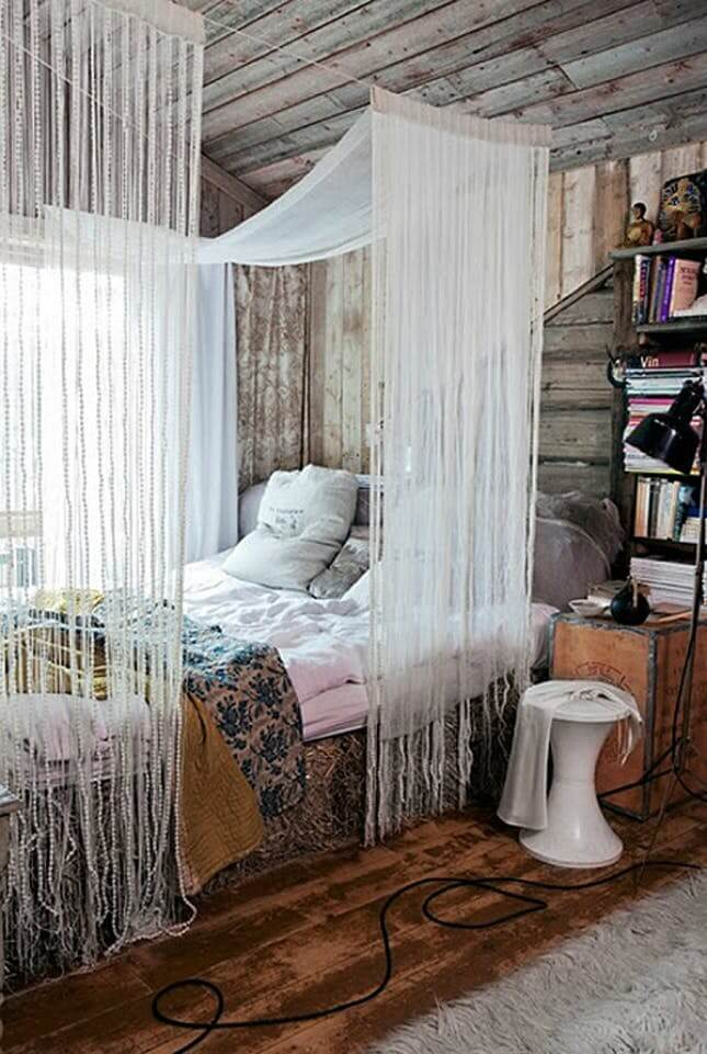 bohemian diy canopy bed