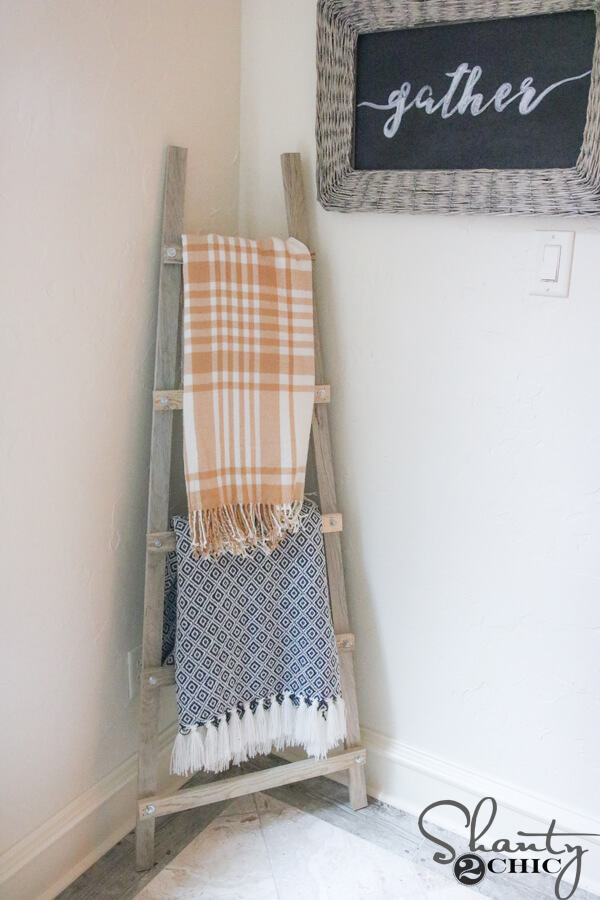 diy blanket ladder shelf