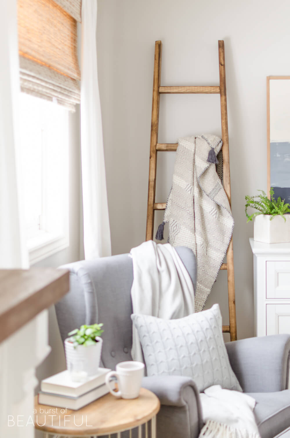 diy wood blanket ladder