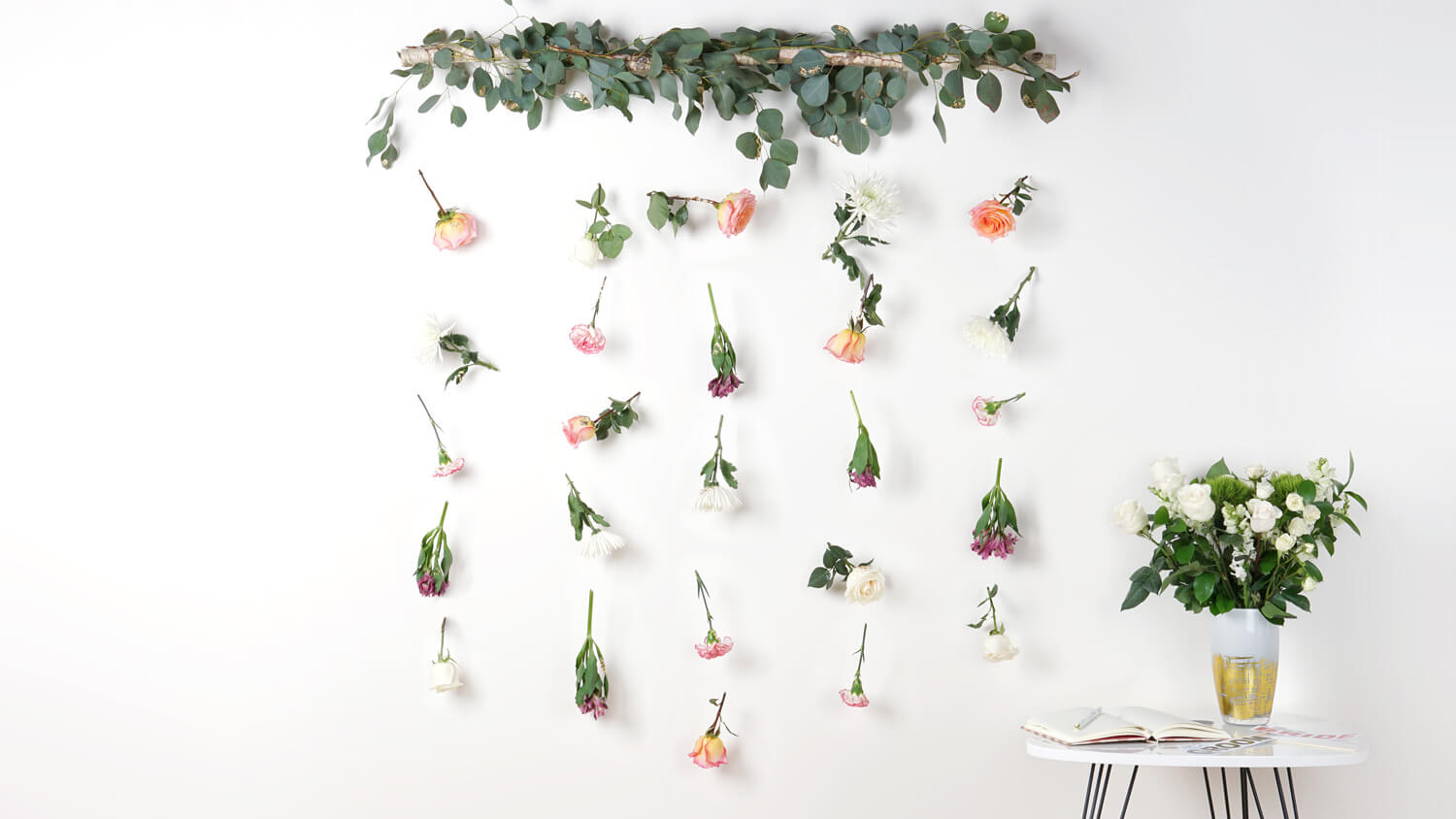 hanging DIY flower wall