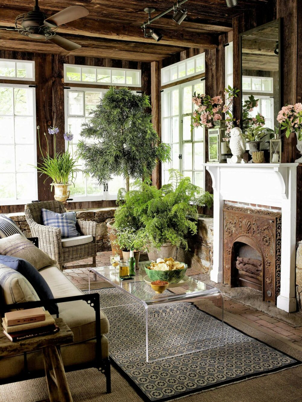 rustic living rooms with fireplace